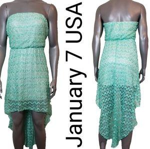 January 7 Hi Low Lace Strapless Dress